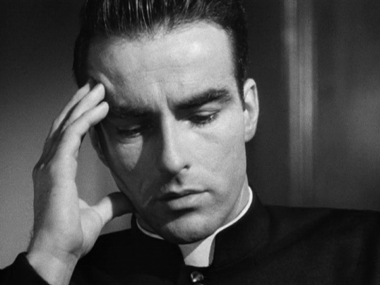 Montgomery Clift is a young and handsome priest in I Confess